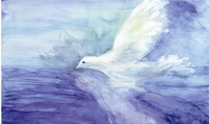 Flying Holy Spirit dove by Wendy Moore